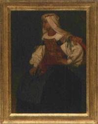 eine dame aus urbino im volkstracht by cesare felix georges dell' acqua
