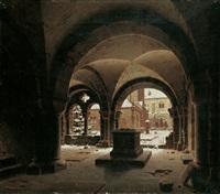 klosterkreuzgang im winter by carl georg adolph hasenpflug