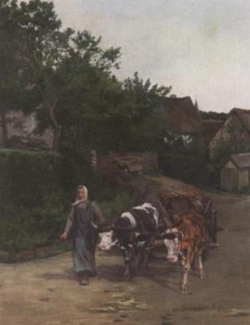 eifler landleben bäuerin mit ochsengespann auf der dorfstraße in dorscheid by katharina correggio