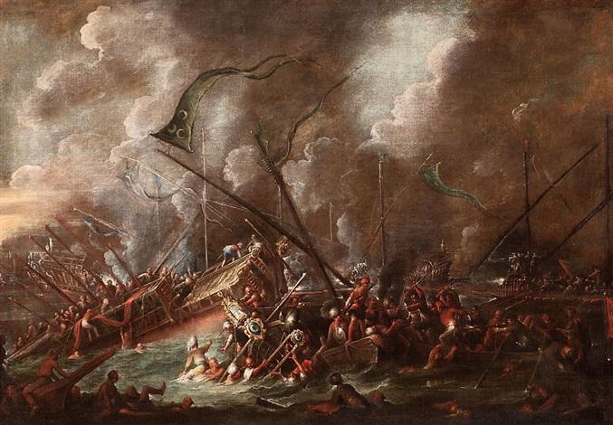 batalla naval entre turcos y cristianos by cornelis de wael