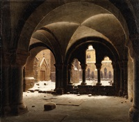 view of a cloister by carl georg adolph hasenpflug