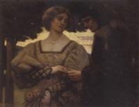 ungt par i aftenskumringen. han beundrer hendes fingerring by francis s. anderton