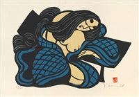 a woman in a blue-checked robe (+ 2 others, various sizes; 3 works) by mori yoshitoshi