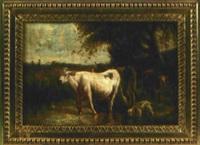 drei kühe auf der weide mit trinkendem hund by alfred roll