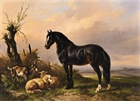 a horse, goat and sheep in an open landscape by wouter verschuur the elder