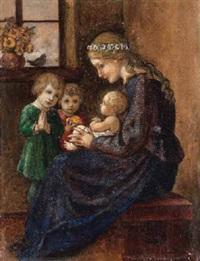 muttergottes mit dem jesuskind auf dem schoß und zwei kindern by hans huber-sulzemoos