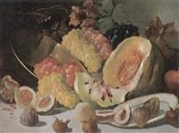 obststilleben mit trauben, melone, feigen, teller und messingschale by arthur (artur) tölgyessy