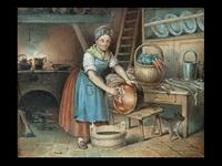 köchin in kücheninterieur beim kesselputzen by johann heinrich stürmer