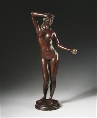 weiblicher akt mit kugel figur der eva mit apfel by wilhelm auberlen