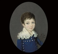 a boy called ferdinand, in blue coat with silver buttons by légé