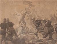 escena de batalla, probablemente la de tetuán o wad ras by mariano josé maría bernardo fortuny y carbó