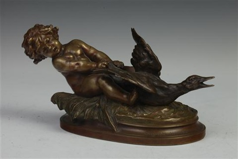 putto and goose by auguste louis mathurin moreau
