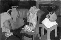 interieur mit tisch, sessel und hocker by heinrich klumbies