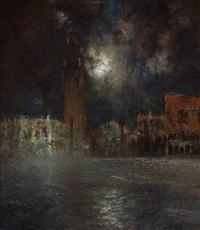 die piazetta di san marco mit dem dogenpalast bei heller mondnacht by karl leipold