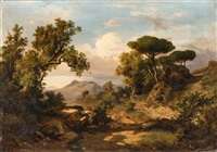 an italian landscape with a woman at a well and a traveller by karoly marko the younger