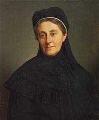 portræt af etatsrådinde benedicte collin med sort kjole og hat by frederik (johan frederik nikolai) vermehren