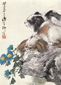 双犬图 (dogs and flowers) by liu bin