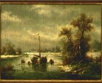 winterlandschaft mit fischerboot und personen auf zugefrorenem fluß by ludwig muninger