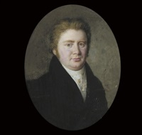 a gentleman, in black coat and white waistcoat, a gold stickpin in his white cravat, fair hair by frederik christian camradt