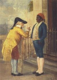 to velklædte herrer i samtale ved en trappe i syden by théodore reh