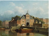 a view of a city gate by jan weissenbruch