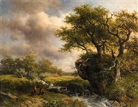 landscape with a stream and two anglers by willem roelofs