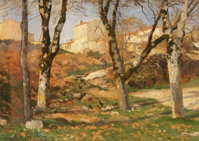 herbstlandschaft mit birken by louis alexandre cabié