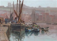 fishing boats in harbour by augustus william enness