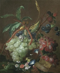 still life of grapes, wheat, acorns, flowers and a snail by coenraet (conrad) roepel