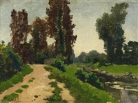 view of a park with a stream by paul joseph constantin gabriël