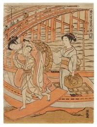 retour de promenade (chuban from azuma no sato yeiga hakkei - huit aspects de la vie luxueuse d'edo) by isoda koryusai