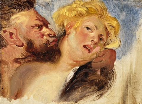 satyr and nymph (after peter paul rubens) by eugène delacroix