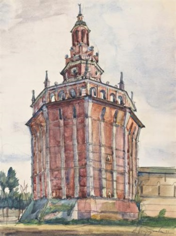 red tower in st petersburg by anna petrovna ostroumova lebedeva