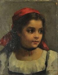 jeune femme au fichu rouge by fanny laurent fleury