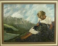 die enzianpflückerin auf einer bergwiese mit blick auf das gegenüberliegende gebirge by josef hengge