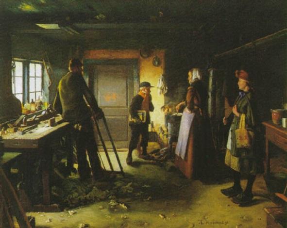 interior med familie i snedkerværkstedet by hans andreasen hessellund