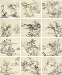 山水册 (album of 12) by fang xun