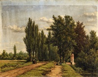 landscape with a poplar-lined avenue by jan willem van borselen