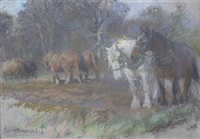 horses plowing - preparations by lucy elizabeth kemp-welch