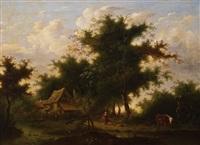 einsames gehöft in idyllischer bachlandschaft im sommer by marinus adrianus koekkoek the elder