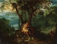 venus und adonis - das paar sitzt eng umschlungen unter einem baum vor weiter landschaft by geex delavallee