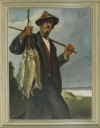 der angler vom grüntensee mit seinem fang by josef hengge