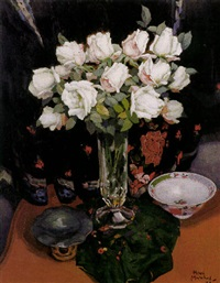 bouquet des roses sur fond chinois by henri marchal