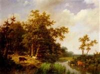 bewaldete flusslandschaft mit weidendem vieh by marianus adrianus koekkoek