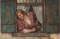 joven en una ventana by luis graner y arrufi
