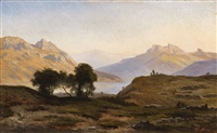a mountainous landscape with a lake by georg eduard otto saal