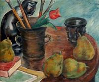 stillleben mit malutensilien, früchten und einer katze by marius bunescu