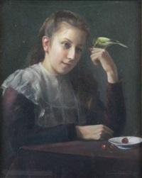 jeune fille aux cérises by georges (ferdinand) lemmers