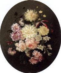 stilleben mit rosen, dahlien und lilien by moise jacobber