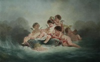putti and dolphins disporting in waves by boucher